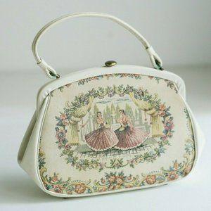 Vintage Tapestry Ballerina Floral Motif Medium Bag